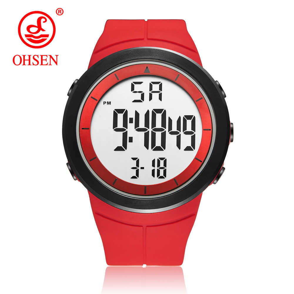 Hot Sale OHSEN Brand Digital LCD Red Mens Boys Watch Reloj hombre 50M Dive Silicone Strap Outdoor Sport Wristwatch Male Gifts