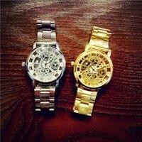 Nieuwe Merk Luxe Fashion rvs unqiue ontwerp Vrouwen Polshorloge Quartz Holle Mannen horloges klok gratis verzending