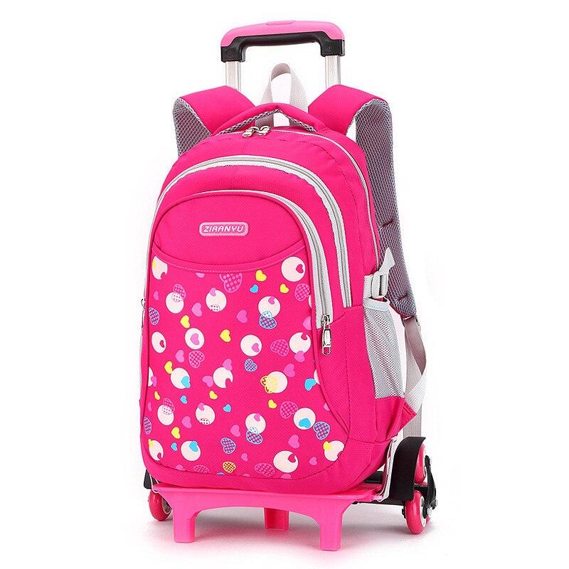 Crianças Trolley Mochila Para Meninas Meninos Moda Heart-shaped Pattern Destacável Mochila Rolando mochilas Saco de Escola com rodas