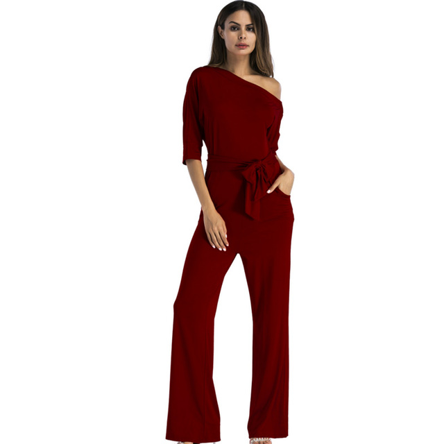 cea75cebf49e Black Red White Plus Size XL XXL 2018 Autumn Wide Leg Elegant Rompers  Womens Jumpsuit Overalls Belted Off One Shoulder Jumpsuits