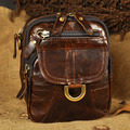 Crazy Horse/Oil Wax Cowhide Small Messenger Shoulder Bag Men Vintage Mobile Phone Purse Genuine Leather Fanny Waist Belt Pack