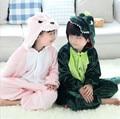Flanela Animal Pijama Anime Trajes Dos Desenhos Animados Dos Miúdos das crianças Sleepwear Onesie dinossauro verde rosa frete grátis