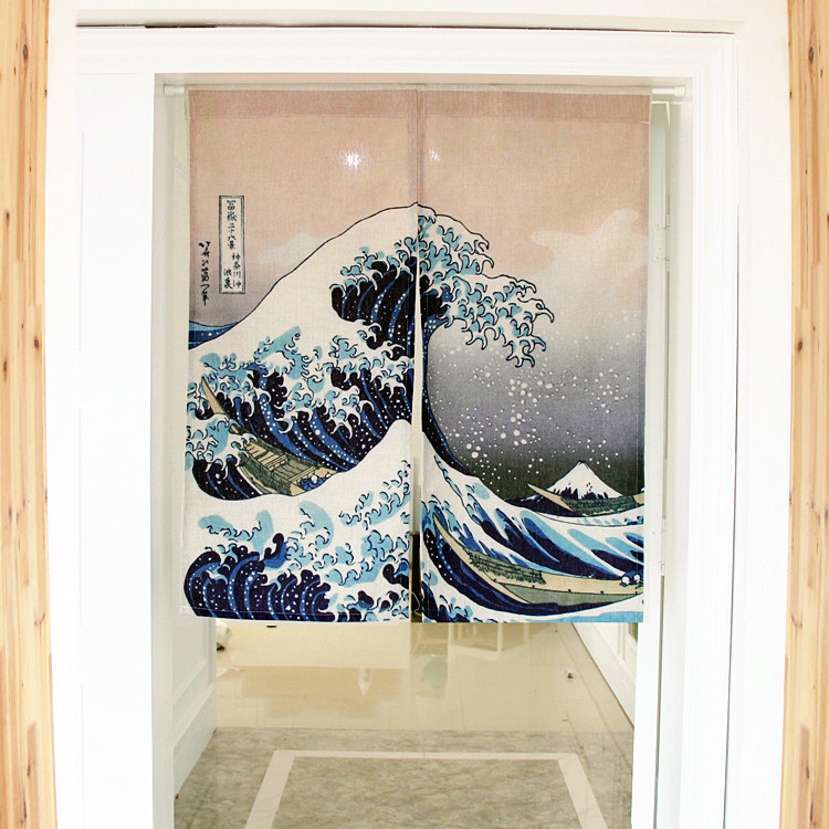 sea spray Japanese decorative door curtains fabric cloth cotton home screens partition bathroom kitchen curtains