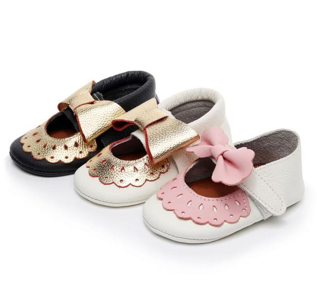 High quality Genuine Leather summer baby shoes soft sole toddler girls shoes cute bow tassel Mary jane baby moccasins