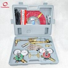 가스 절단 토치 용접 토치 키트 미국 6290 팁 용접 고글 스파크 라이터 팁 클리너 트윈 호스 금속 절단 용접 도구