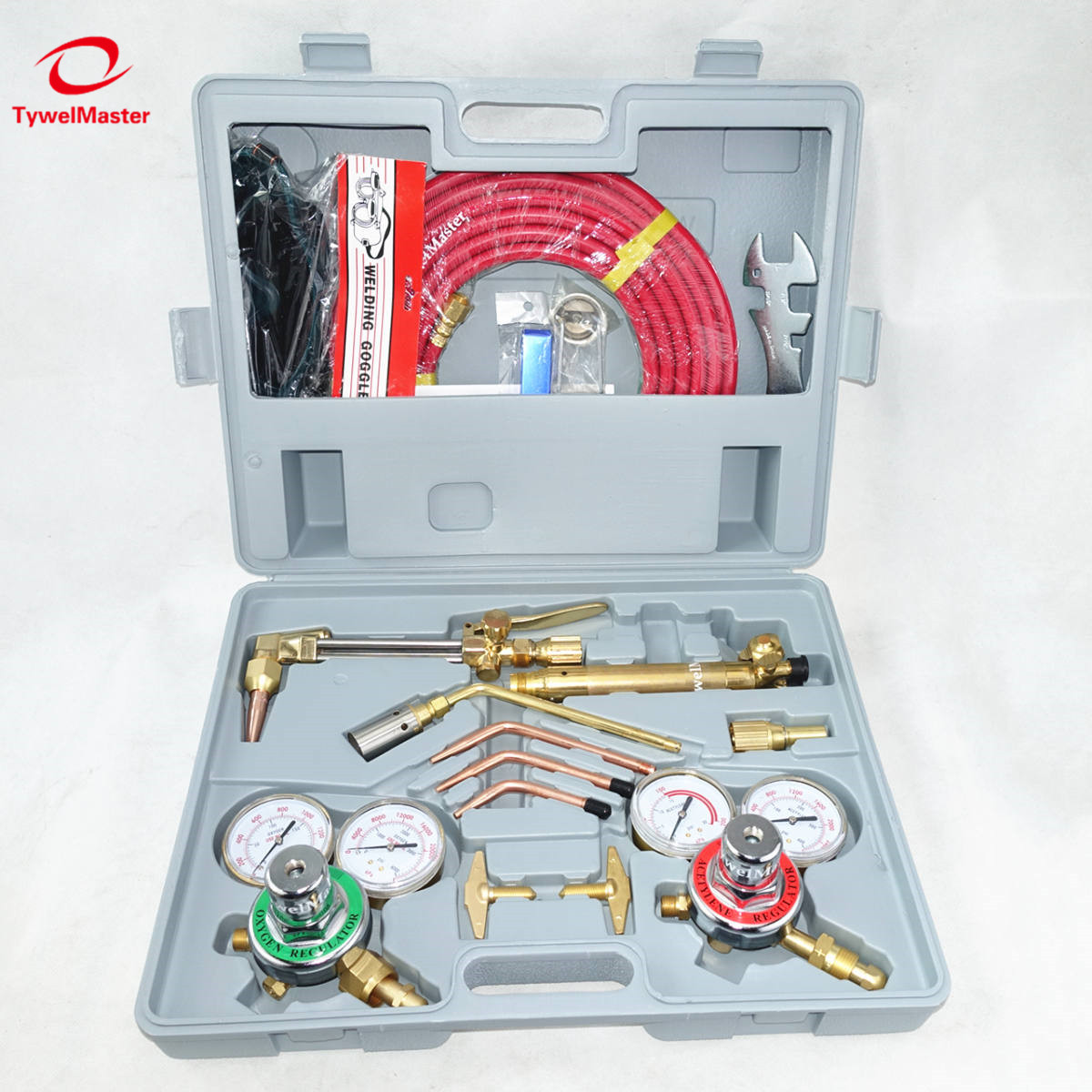 USA Gas Cutting And Welding Kit 6290 Tips Welding Goggle Spark Lighter Tip Cleaner Twin Hose Metal Cutting Welding Tool Set
