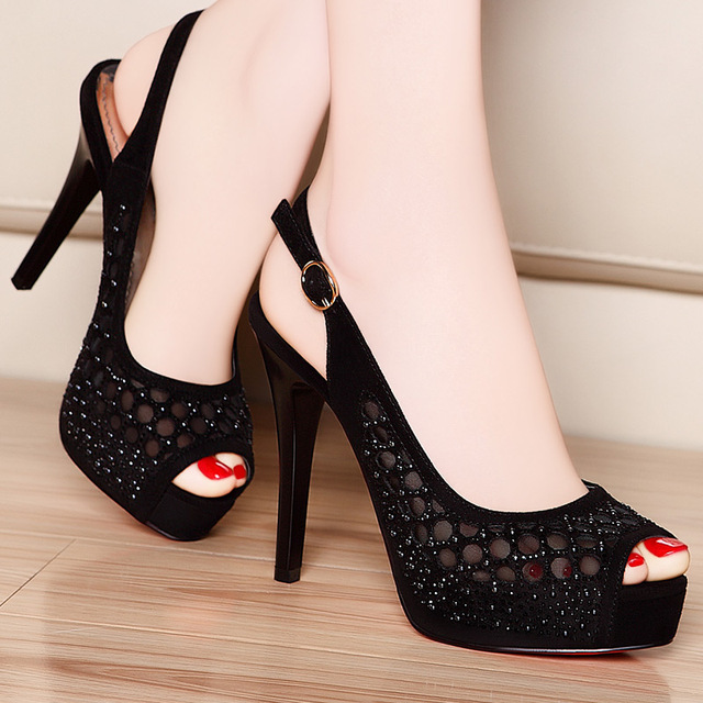 2017 new summer Women gold ,black sexy pumps heels lady shoes ...