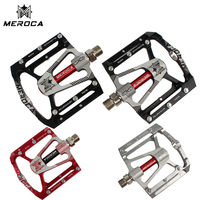 MEROCA MTB bicycle pedal 14mm 3 bearings Al magnesium alloy mountain bike pedals footrest treat ultralight 291g two colors