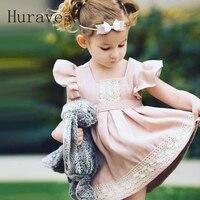 Hurave 2017 European Style Princess Girl Dress Patchwork Baby Girls Cotton Clothing Summer Pink Dress