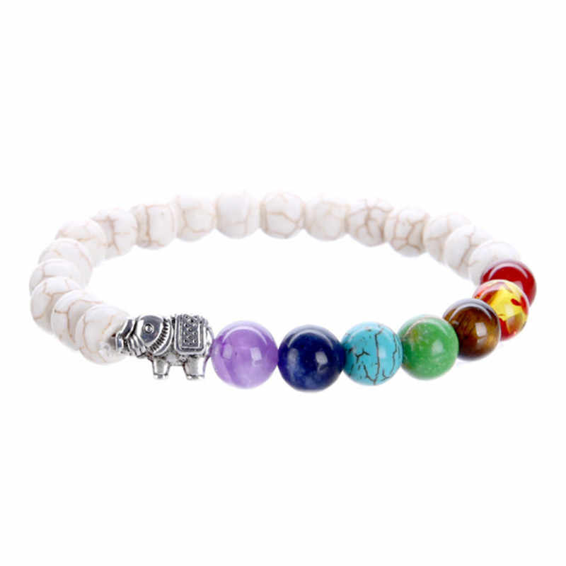 Dorp חינם 100% כל טבעי אבן חרוזים 7 צ 'אקרה צמיד לנשים גברים יוגה בודהה נגן פיל צמידי תכשיטים