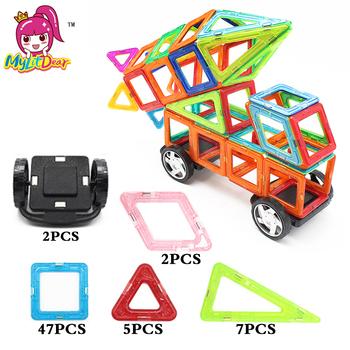 MylitDear 63 sztuk magnetyczne projektant klocki zabawki rakiety samochodów montaż oświecić dzieci DIY klocki konstrukcyjne zabawki tanie i dobre opinie 10-12Y 14Y 13-14Y 7-9Y 4-6Y 2-3Y 69Pcs NO0001 Z tworzywa sztucznego As Picture Show 69 pcs Big Size Car Magnetic Blocks