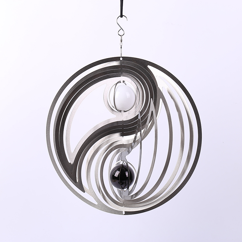 12 inch wind spinner Double Glass Ball (BLACK & WHITE (5CM) made from 1mm stainess steel sheet with high quality Спиннер