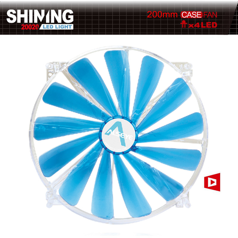 AlSEYE 200mm Fan Cooler ATX Case, Blue and Red LED Fan Cooler 12V 3pin 600RPM Cooling Fan Radiator 200 x 200 x 20mm цена и фото