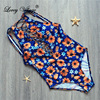 Lovey Village 2017 New Sexy Swimsuits Women Swimwear Sunflower Printed One Piece Bathing Suits Push Up