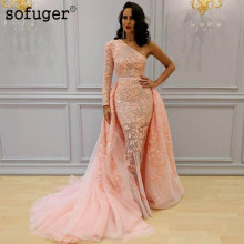 Pink Muslim Lace Long Appliques Sexy One Shoulder Dubai Arabic Saudi Arabian Evening Dresses Prom Dress