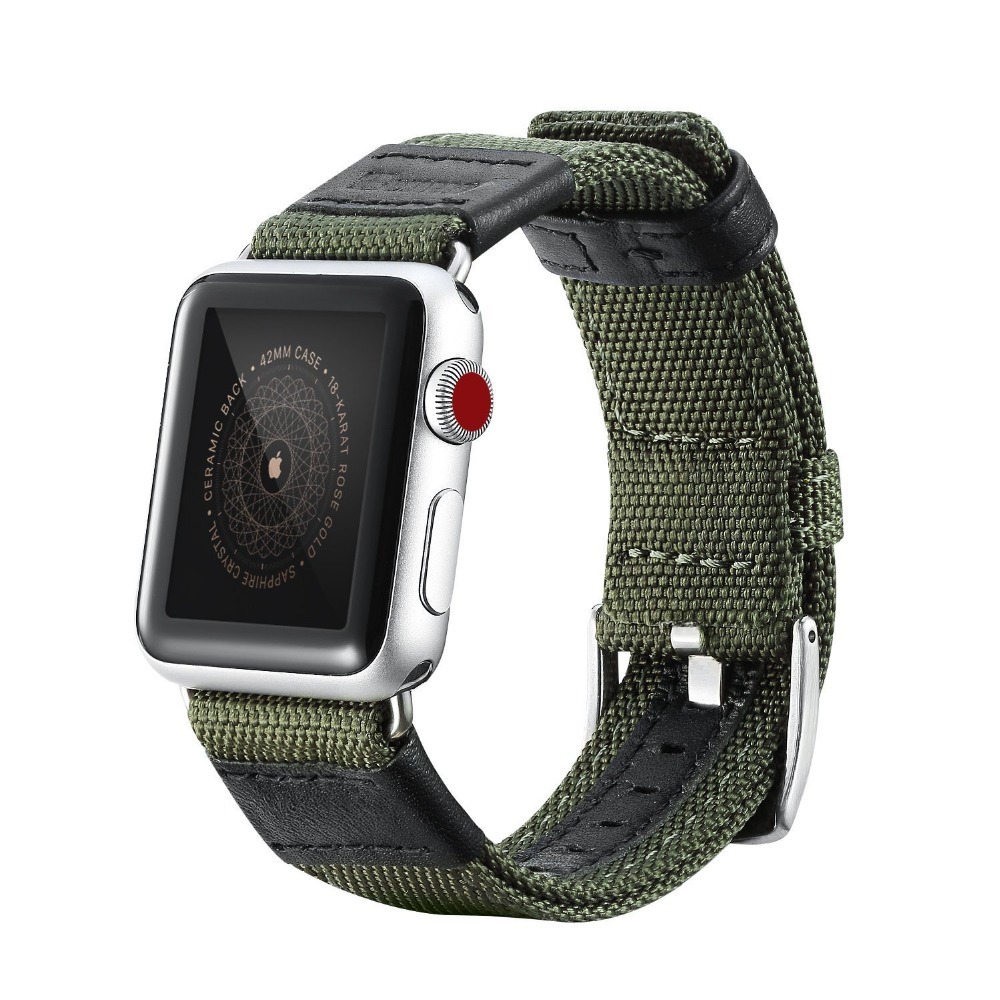 Comfortable Canvas Nylon Army Green Military Sports Style Watch Band for Apple Watch Bands 38mm 42mm Series 1 2 3 Leather Strap 1pcs canvas fabric nylon watch straps bands black army green brown gray striped replace wristwatch bracelet width 20mm