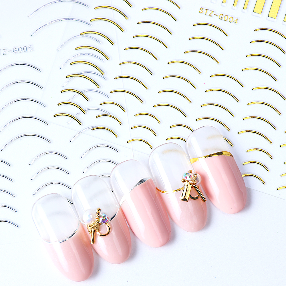 Image 2 - 1pcs Gold Silver Sliders 3D Nail Stickers Straight Curved Liners Stripe Tape Wraps Geometric Nail Art Decorations BESTZG001 013-in Stickers & Decals from Beauty & Health