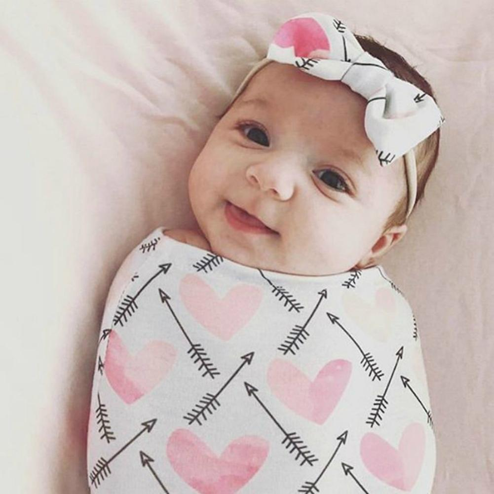 2Pcs/Set Soft Floral Baby Swaddle Sleeping Bag Blanket Wraped Headband Outfit