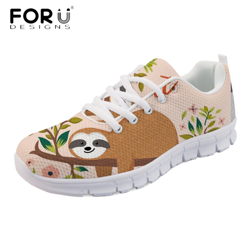 FORUDESIGNS 2018 Stylish Women Casual Flats Cute Animal Sloth Print Breathable Mesh Sneakers for Girls Summer Walking Flat Shoes instantarts cute glasses cat kitty print women flats shoes fashion comfortable mesh shoes casual spring sneakers for teens girls