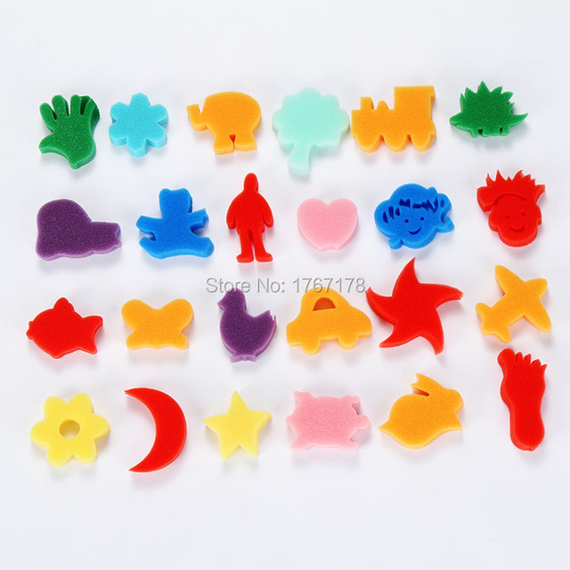 24pcs Kids DIY Art Foam Stamp Sponge