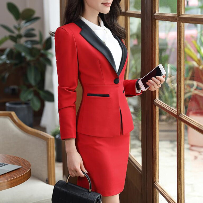 New fashion women skirt suits set Business formal long sleeve Patchwork blazer and skirt office ladies plus size work uniforms-in Skirt Suits from Women's Clothing    2