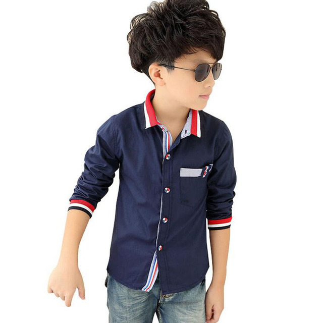 dbae237fde 2019 Spring Casual Shirts for Boys Striped Collar Trend Style Children Long  Sleeve Cotton Dress Shirt Autumn Kids Tops