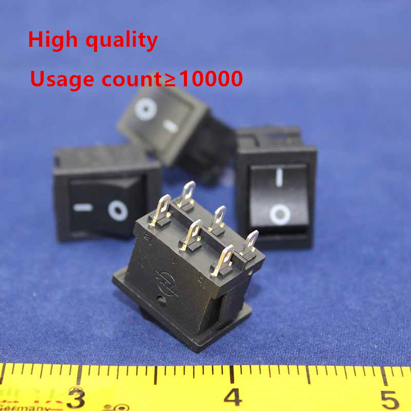5pcs  KCD1 perforate 21 x 15 mm 6 pin 2 positions boat rocker switch ON - OFF power switch 6A/250V 10A/125V AC New HOT g126y 2pcs red led light 25 31mm spst 4pin on off boat rocker switch 16a 250v 20a 125v car dashboard home high quality cheaper