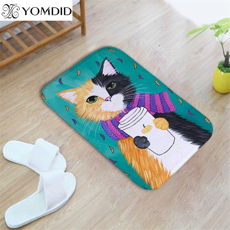 Cat animal print floor mats bathroom kitchen rug doormat - Alfombras animal print ...