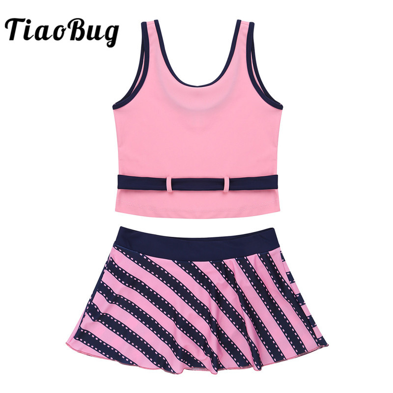 Tiaobug Kids Teens Two Piece Tankini Swimwear Girls Swim