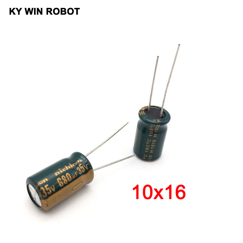 10pcs Electrolytic Capacitors 680UF 35V 10x16mm 105C Radial High-frequency Low Resistance Electrolytic Capacitor