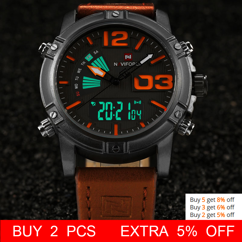Image 2 - NAVIFORCE Brand Dual Display Watch Men Sport Quartz LED Watches Leather Band Analog Digital Wrist Watches 30M Waterproof Clock-in Quartz Watches from Watches