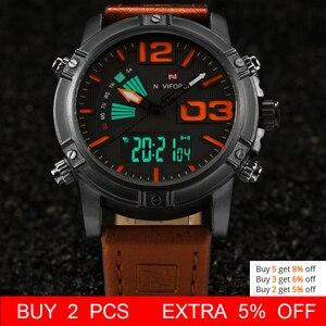 Image 2 - NAVIFORCE Brand Dual Display Watch Men Sport Quartz LED Watches Leather Band Analog Digital Wrist Watches 30M Waterproof Clock