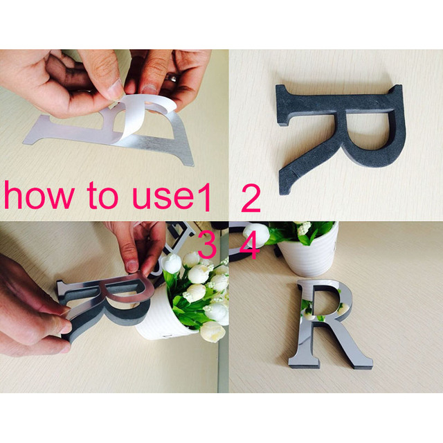 3D Mirror Wall Stickers Alphabet Logo For Wall Home Decoration