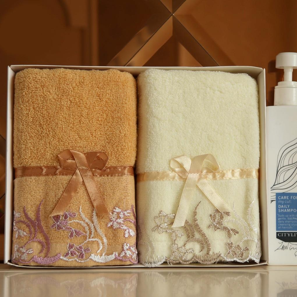 Bath Towel Cotton Absorbent Lace Embroidery Design Soft Face Wash Cloth 1Pcs