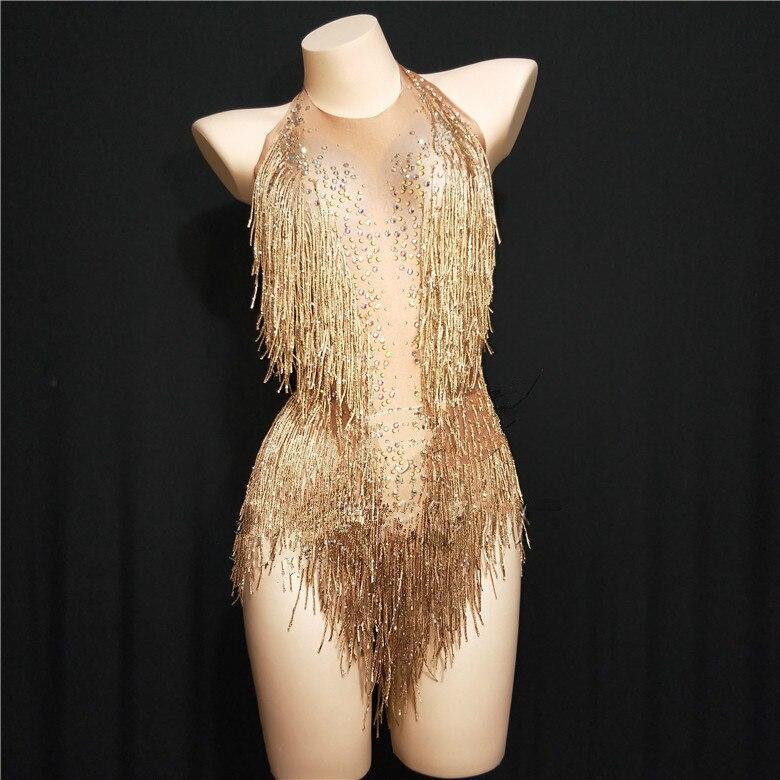 Gold Tassel Women Sexy Bodysuit Sparkling Crystals Costume Nightclub Party Singer Dancer Performance Stage Wear Clothing DJ DS
