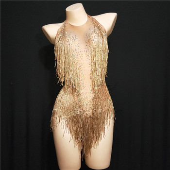Details about  /2020Metal stage jumpsuit sparkling crystal bodysuit stage costume clothing women
