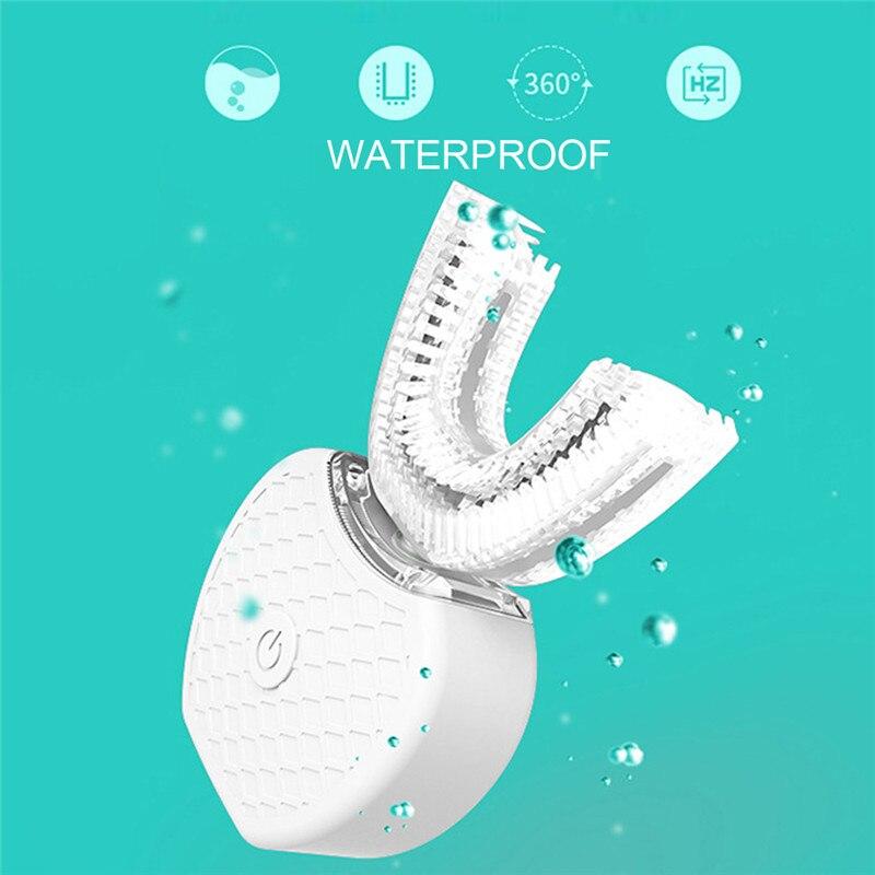 Cepillo de dientes eléctrico sónico automático inteligente de 360 grados cepillo de dientes tipo U carga USB dientes blanqueadores luz azul