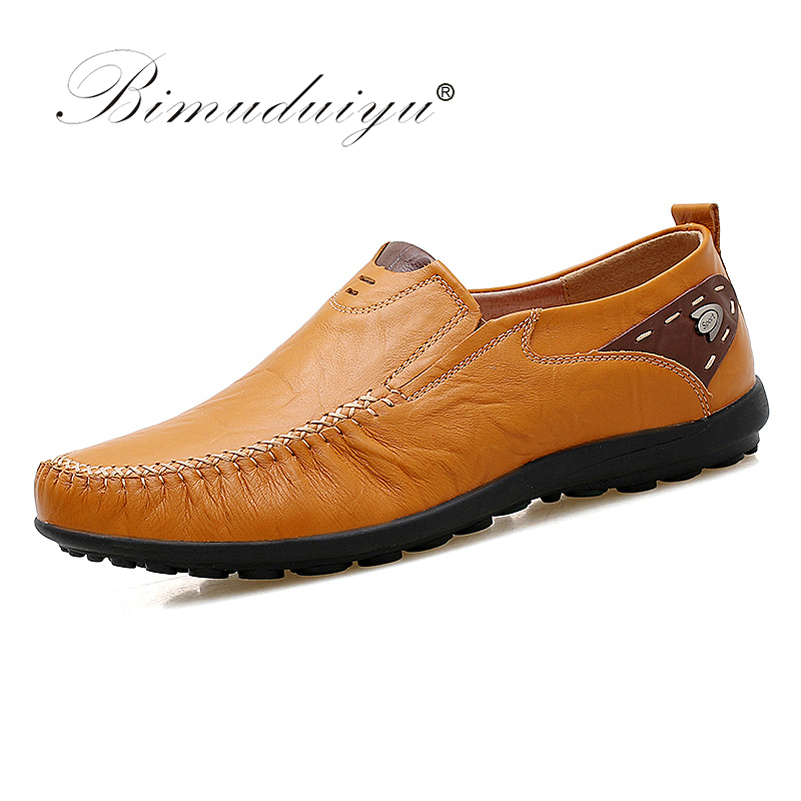 BIMUDUIYU Plus Size 38-47 Slip on Comfortable Leather Handmade Mens Loafers Men Casual Moccasins Male  Breathable Driving Shoes xx brand 2017 genuine leather men driving shoes summer breathable loafers comfortable handmade moccasins plus size 38 47 footwea