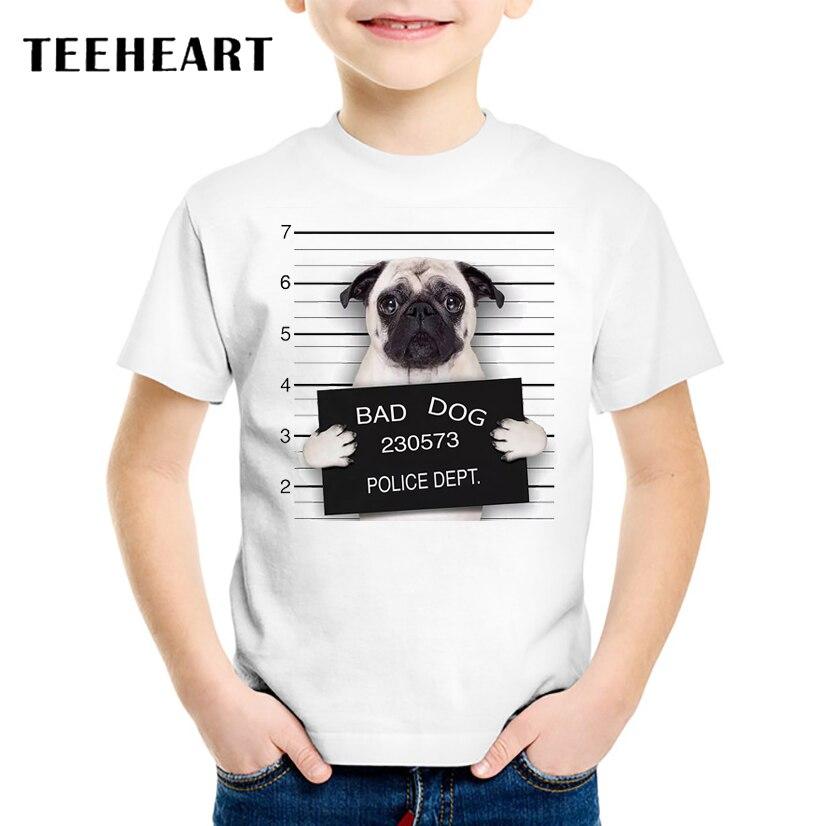 18M-10T Summer Bad Pug Print T-Shirt for Children 2017 Kid Apparel Baby t shirt Boys Girls Top Tees Outwear