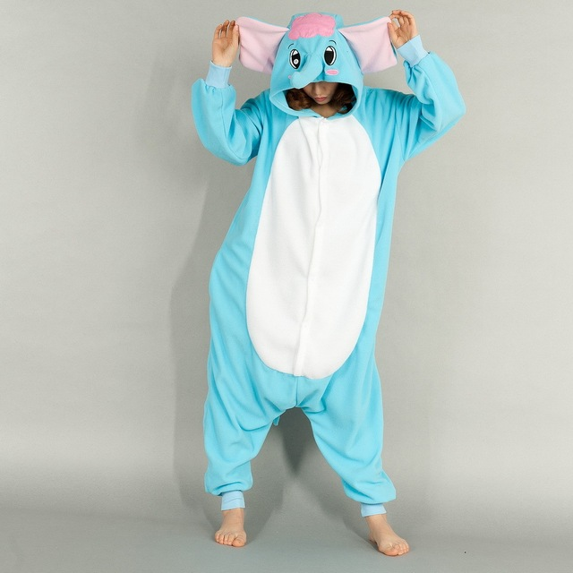 Hot animal pajamas onesie pyjamas blue elephant animal cosplay costume sleepwear sleepsuit - Pyjama elephant ...