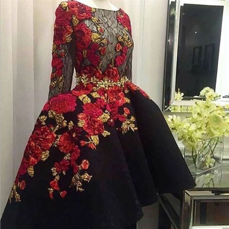 Charming Black Embroidery Lace Long Sleeve   Prom     Dresses   2019 Top Quality Applique Satin Hi Lo Sheer Custom Made Evening   Dress