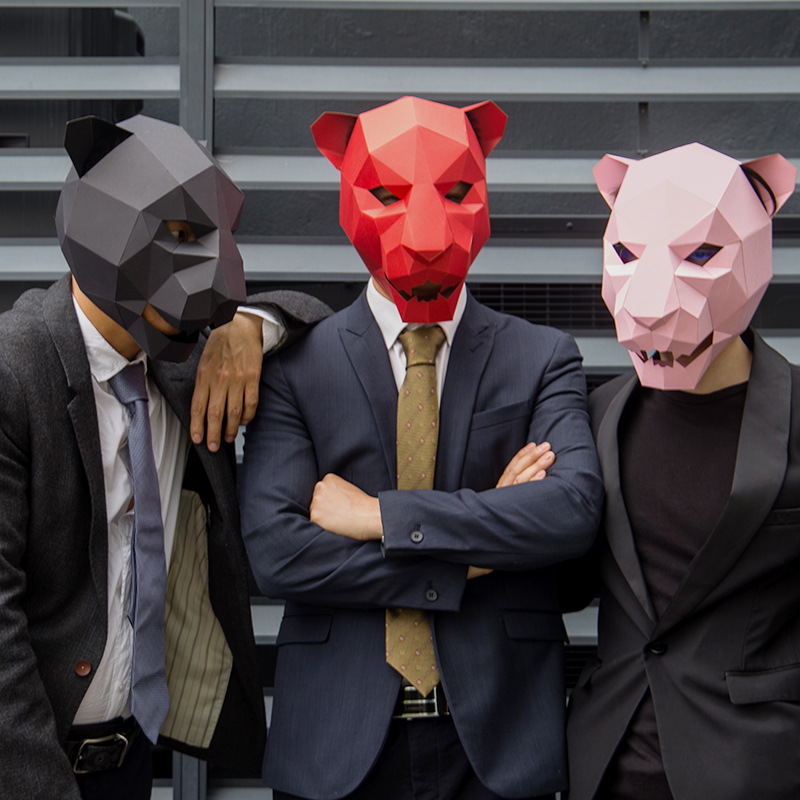 Luipaard Hoofd Papier 3d Diy Materiaal Handleiding Creatieve Hoofd Mask Party Masquerade Tonen Rekwisieten #889 Mooie Tij Hand Made Leuke Masker