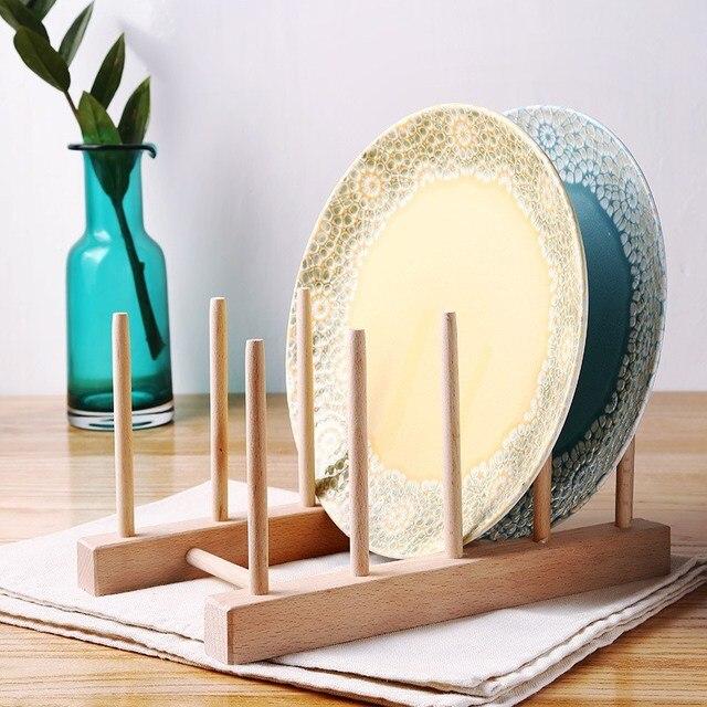 Kitchen Dish Plate Storage Stand Wooden Draining Shelf Tray Extraordinary Art Display Stands Racks