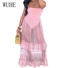 WUHE Sexy Hollow Out Spaghetti Strap Dress Elegant Patchwork See-through Mesh Pleated Maxi Summer Club Party Long Dresses