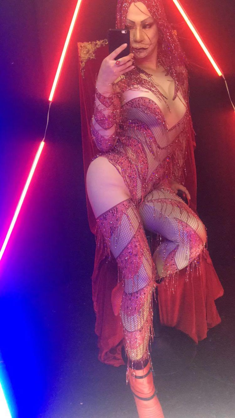 Halloween Nightclub Singer JAZZ DJ Female DS Costumes Red Tassels Flash Rhinestones Jumpsuit Leotard Bodysuit Party Stage Show