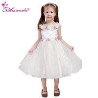Alexzendra Çay Uzunluğu Organze Balo Çiçek Kız Elbise Çiçekler Kız İlk Communion Elbise Prenses Kız Elbise