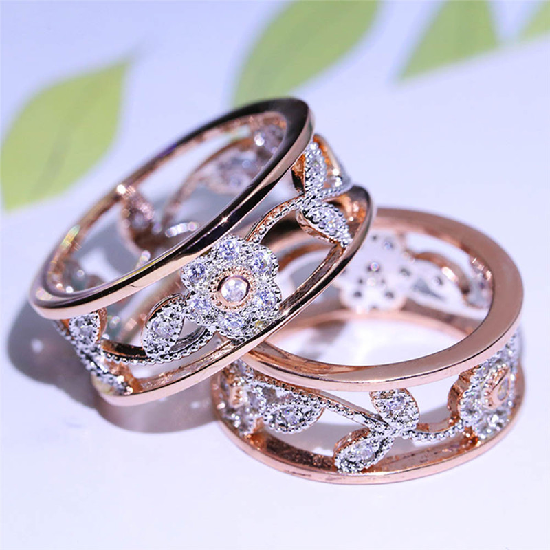 2018 New Arrival Crystal Rose Gold Flower Leaf Hollow Design Rhinestone Ring For Women