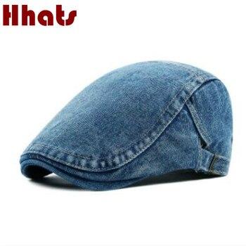 Mà trong vòi hoa sen dành cho người lớn unisex có thể điều chỉnh denim đồng bằng beret đối với phụ nữ men trống jean flat trẻ bán báo mùa xuân hat mặt trời mùa hè xương