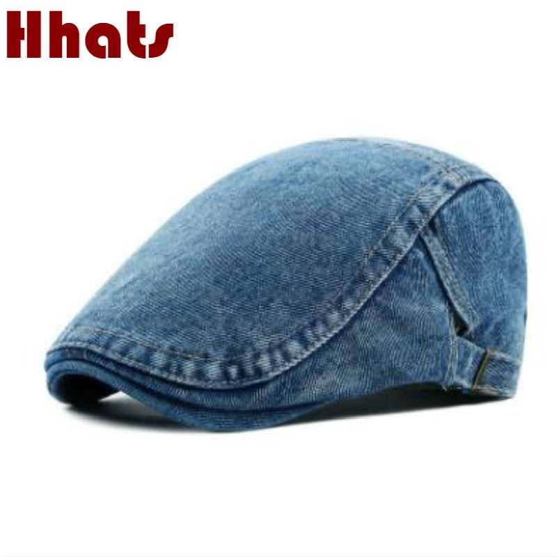 which in shower adult unisex adjustable plain denim beret for women men blank jean flat newsboy cap spring summer sun hat bone