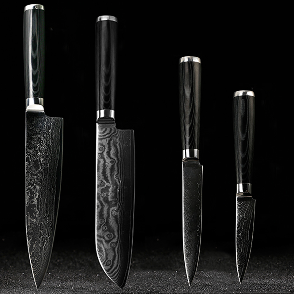 FINDKING Knives-Set Knife-Kits Kitchen Damascus Steel Utility Santoku Paring
